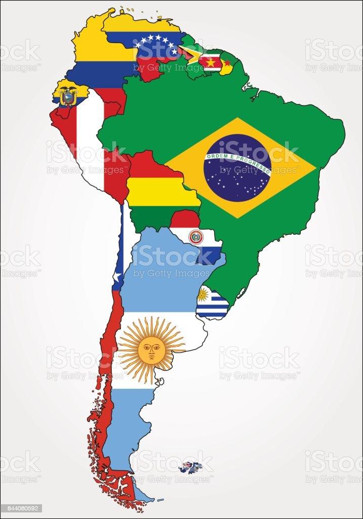 Carte Damerique Du Sud Avec Les Pays.Carte Tres Detaillee En Amerique Du Sud Avec Des Drapeaux De Pays