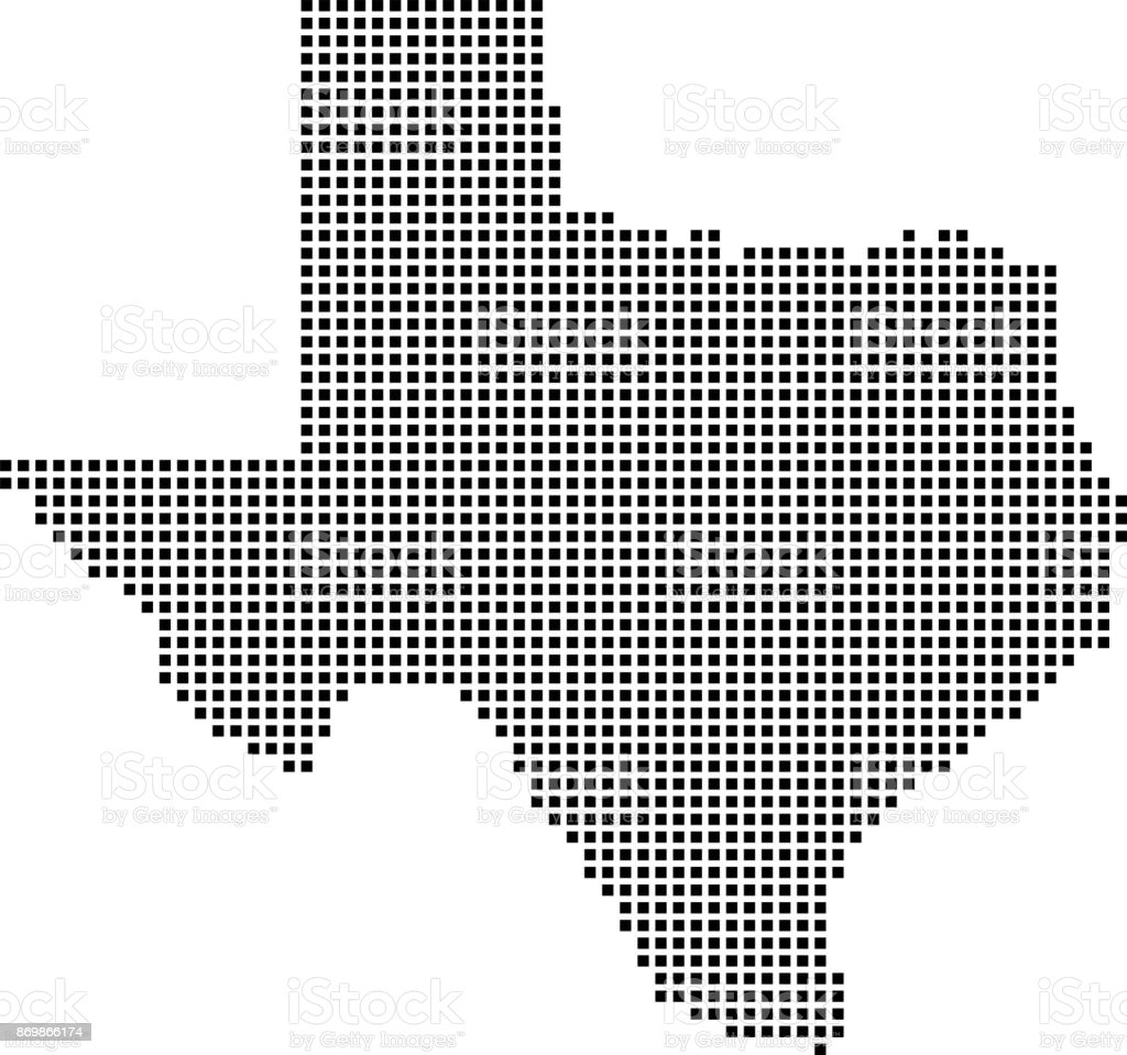 Highly Detailed Texas Map Dots Dotted Texas State Of Usa Map Vector