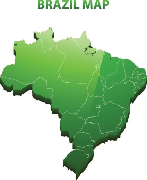 ilustrações, clipart, desenhos animados e ícones de altamente detalhados três dimensional mapa do brasil com borda de regiões - brazil map