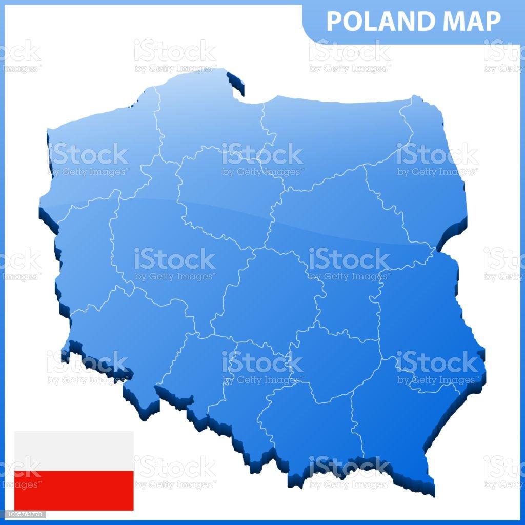 Polen Schlesien Karte.Hochdetaillierte Dreidimensionale Karte Von Polen Mit Regionen