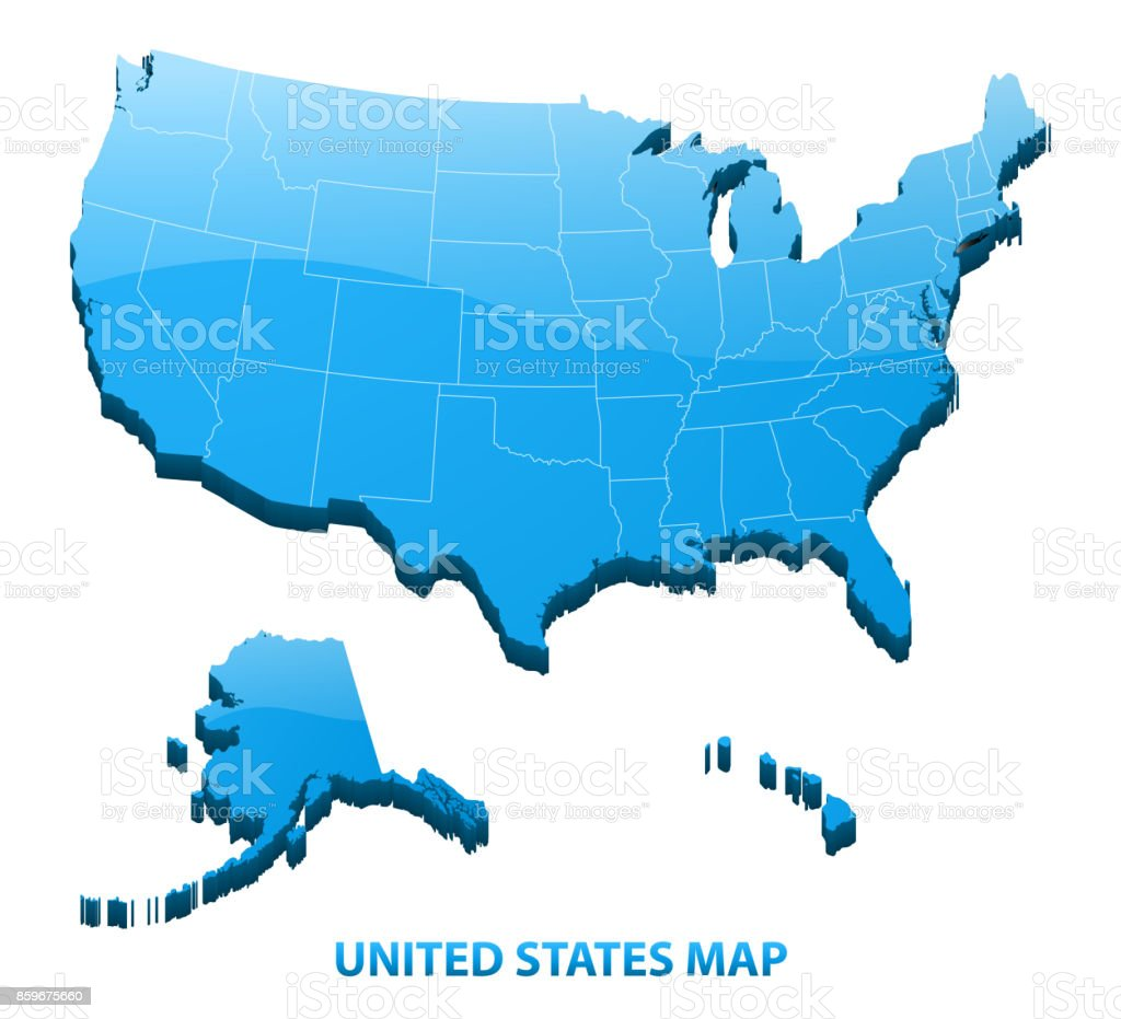 Highly Detailed Three Dimensional Map Of Usa With Regions Border