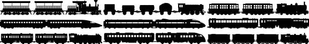 Highly Detailed Train Silhouettes Highly detailed new and old train silhouettes. high speed train stock illustrations