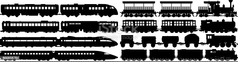 Highly detailed new and old train silhouettes.