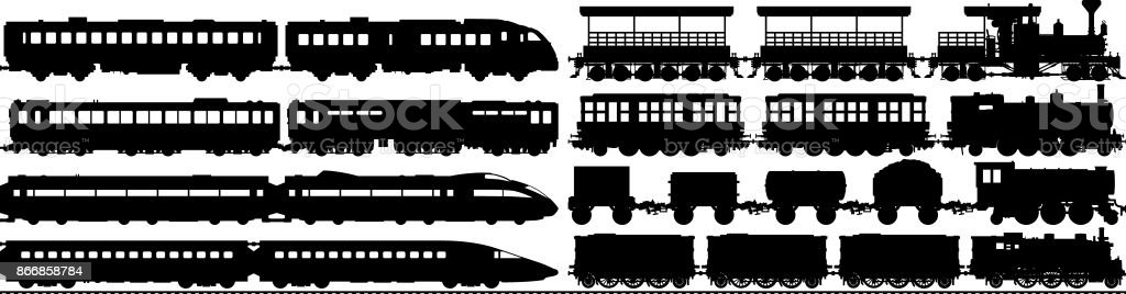 Highly Detailed Train Silhouettes vector art illustration