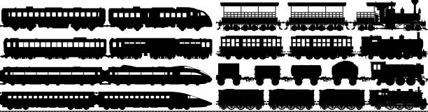 highly detailed train silhouettes - train stock illustrations, clip art, cartoons, & icons