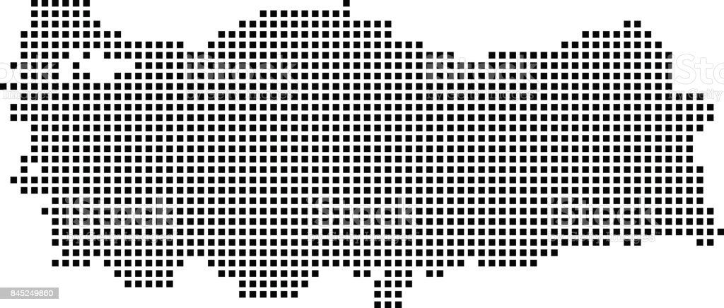 Highly detailed Turkey map dots, dotted Turkey map vector outline, pixelated Turkey map in black and white illustration background vector art illustration