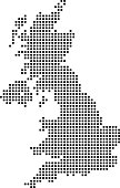Highly detailed United Kingdom map dots, dotted UK map vector outline, pixelated Great Britain map in black and white illustration background