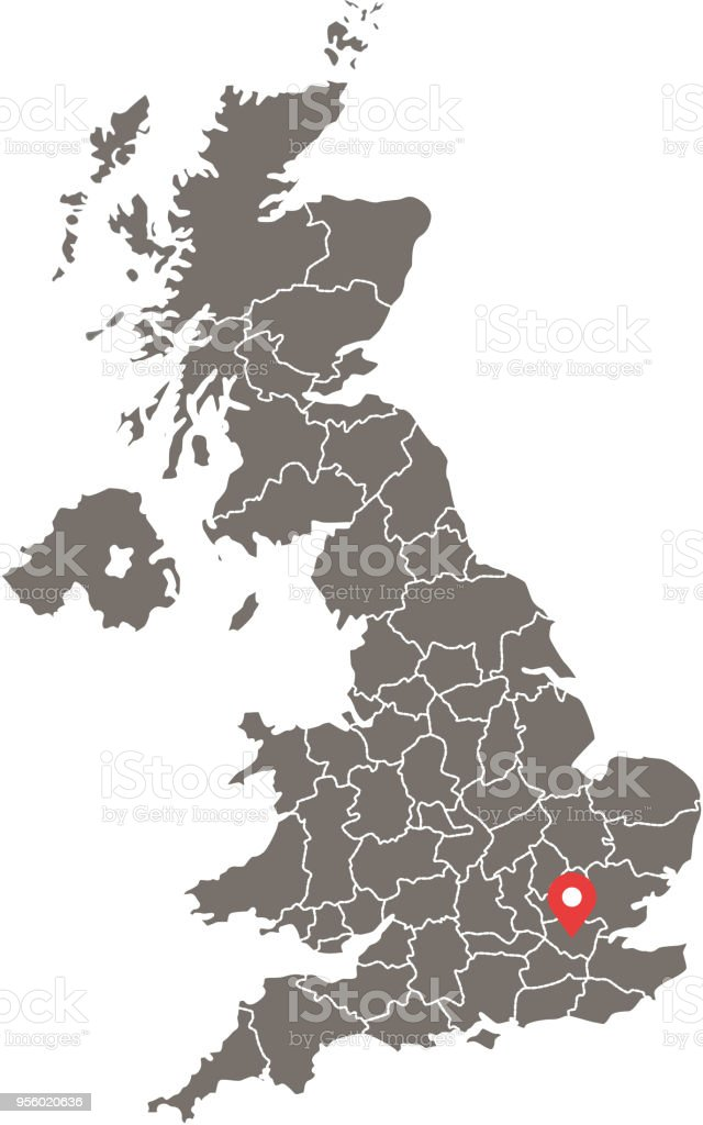 Highly detailed United Kingdom map vector outline illustration with provinces or states borders and capital location, London, in gray background. Accurate map of UK prepared by a map expert. vector art illustration