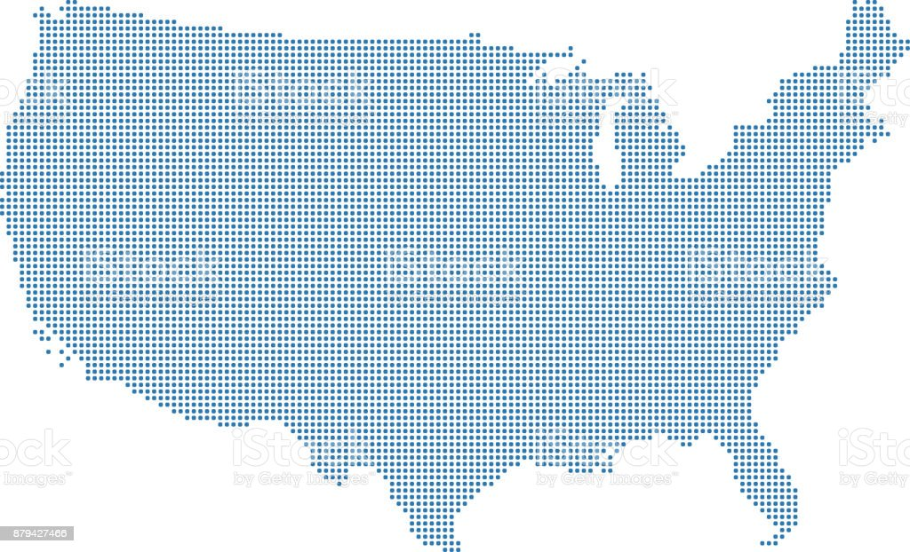 Highly Detailed Usa Map Dots Dotted United States Map