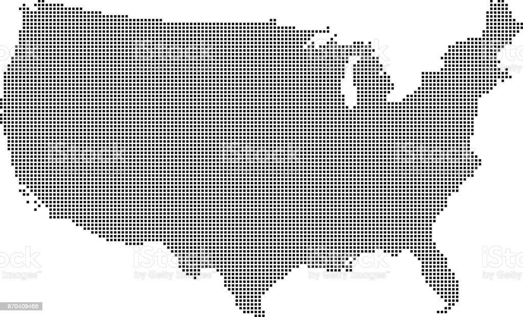 Highly Detailed Usa Map Dots Dotted Us Map Vector Outline - Us Map With States Outlined Vector