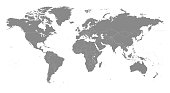 Highly detailed vector World map, with gray countries and white borders on a white background. High detail vector illustration