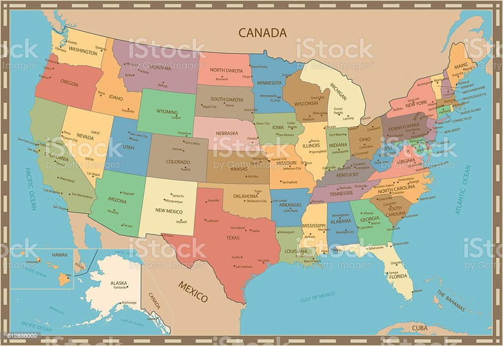 Highly detailed vintage color map of United States vector art illustration