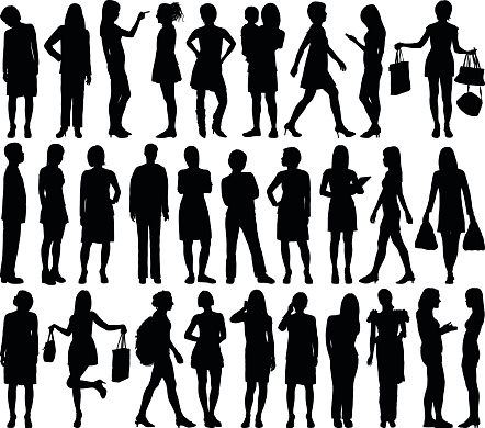 Highly Detailed Women Silhouettes clipart