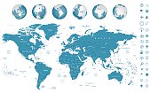 Highly detailed World Map and navigation icons with globes