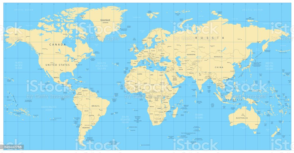 Highly Detailed World Map Countries Cities Water Objects Stock ...