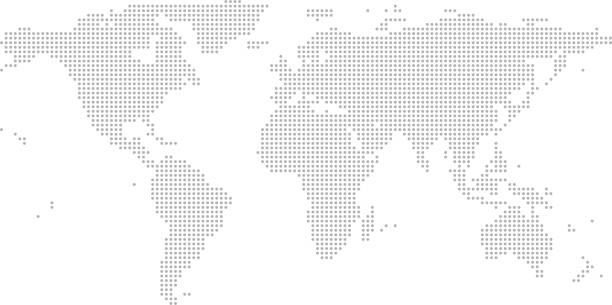 bardzo szczegółowe kropki mapy świata, kropkowany zarys wektora mapy świata, wzory punktów mapa świata w wyblakłym szarym tle - mapa świata stock illustrations
