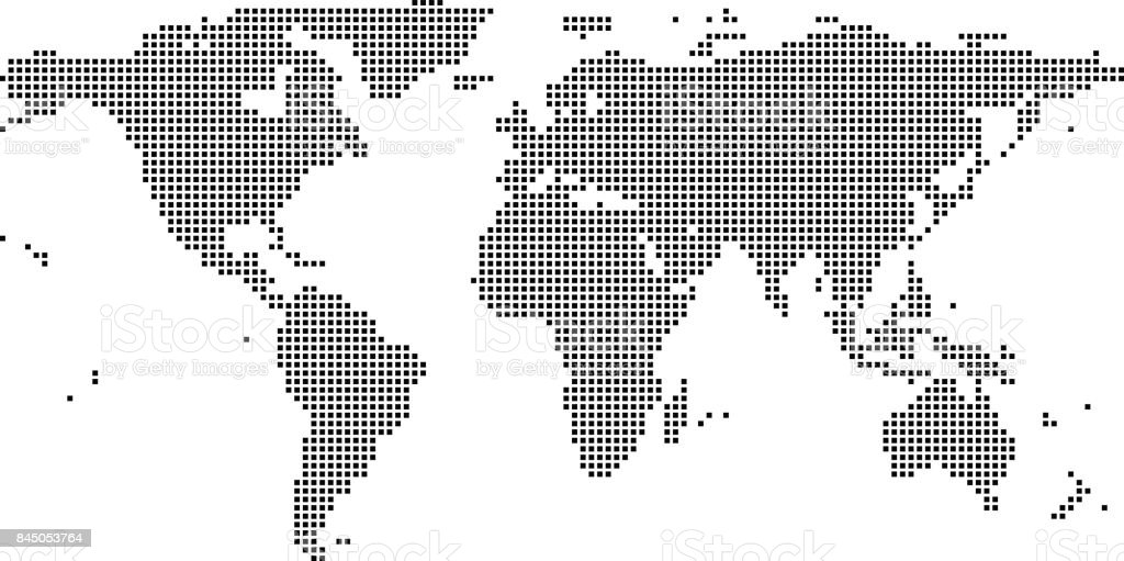 Highly detailed World map dots, dotted World map vector outline, pixelated World map in black and white illustration background vector art illustration