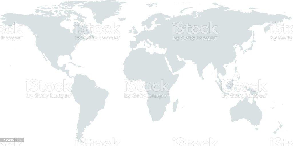 Highly detailed World map vector outline illustration faded gray background vector art illustration
