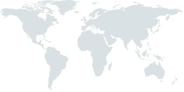 非常に詳細な世界地図ベクター アウトライン図色あせた灰色の背景 - 世界点のイラスト素材/クリップアート素材/マンガ素材/アイコン素材