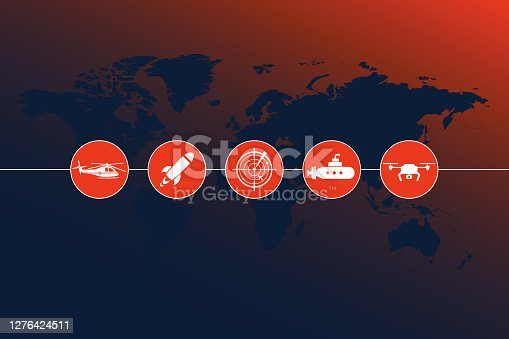 istock Highly detailed world map with Army Motion icons and gradient background 1276424511
