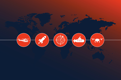 Highly detailed world map with Army Motion icons and gradient background