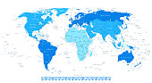 Highly Detailed World Map with Continent in Different Blue Colors and Flat Design Square Navigation Icons.