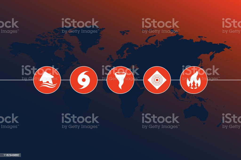 Vector of highly detailed world map with natural disaster icons and...