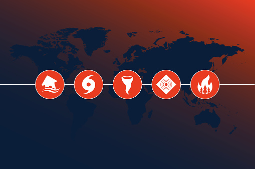 highly detailed world map with natural disaster icons and gradient background