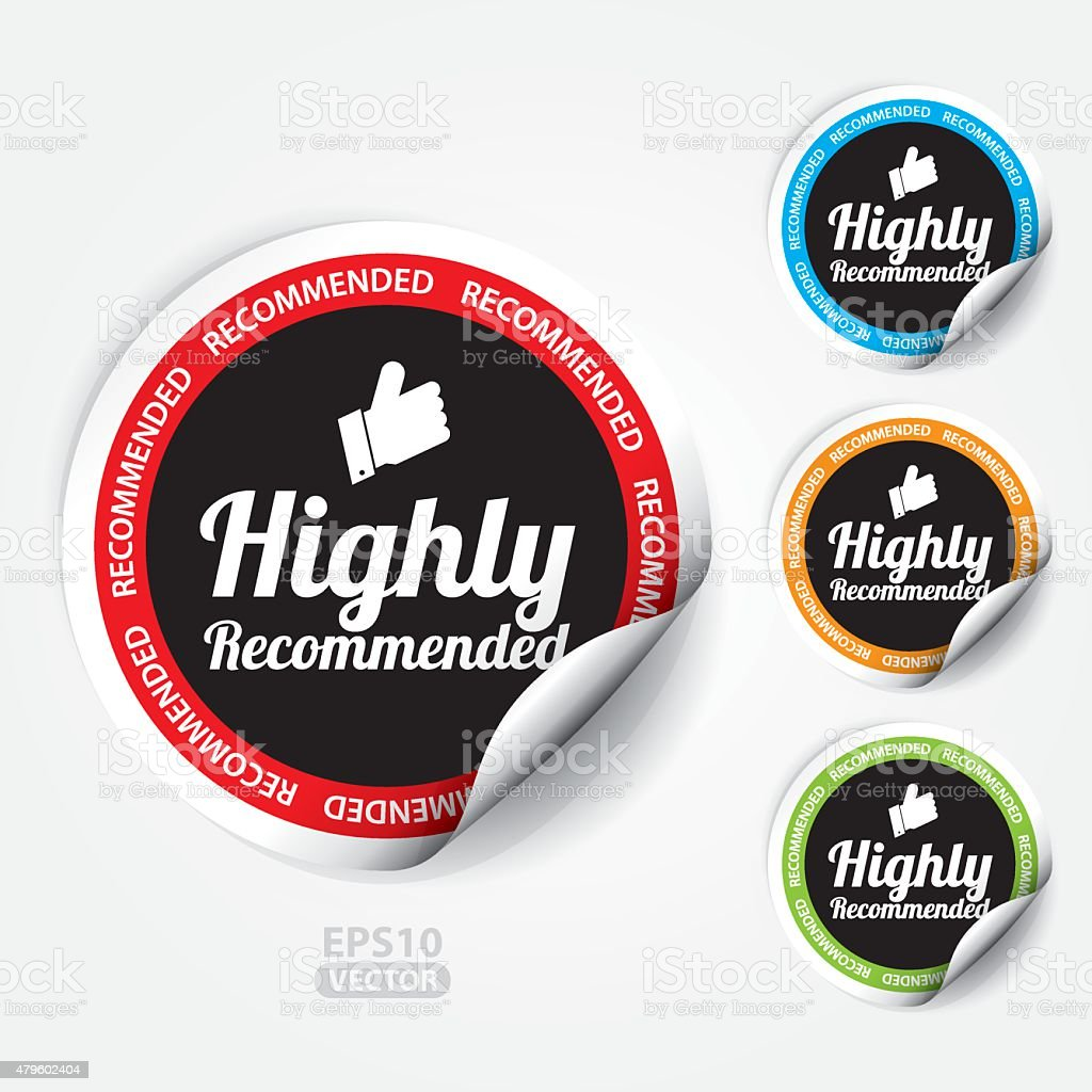 Highly Recommended Sticker and Tag vector art illustration