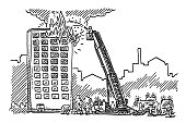High-Rise Building Fire Emergency Drawing