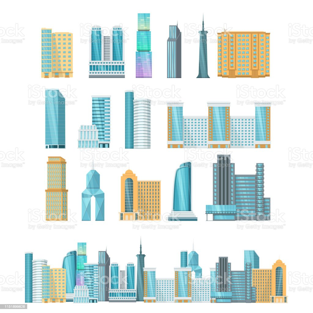 Highrise City Skyscrapers Exterior Of Buildings Facades Of