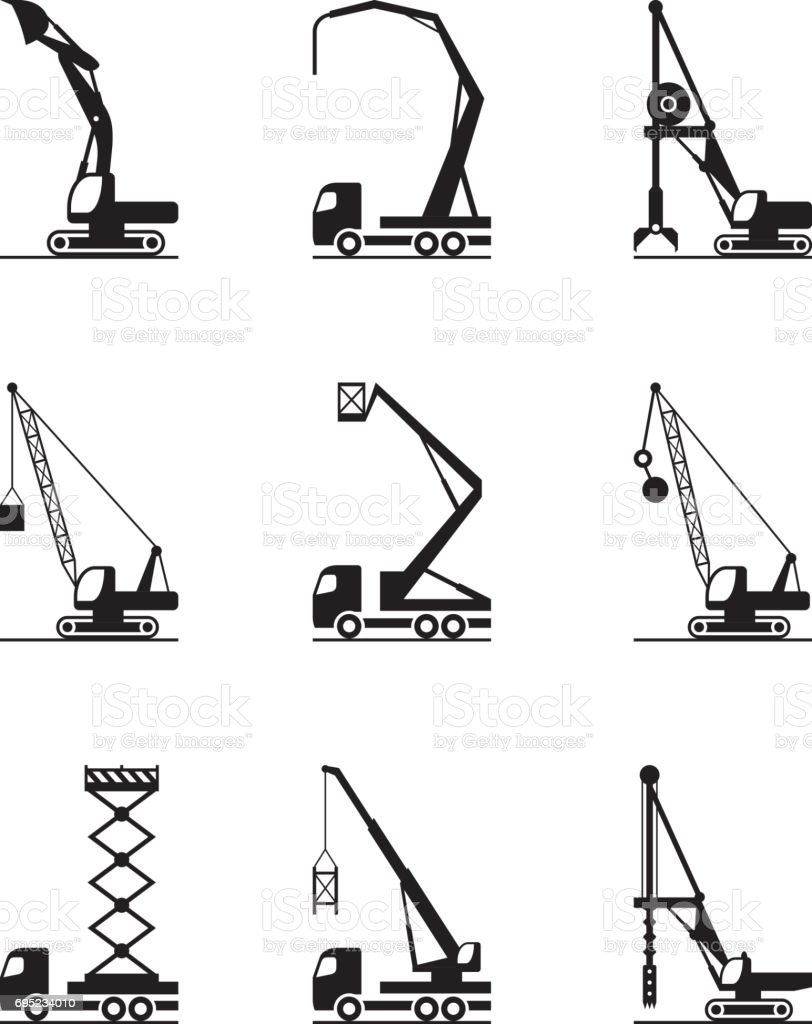 High-rise construction machinery vector art illustration