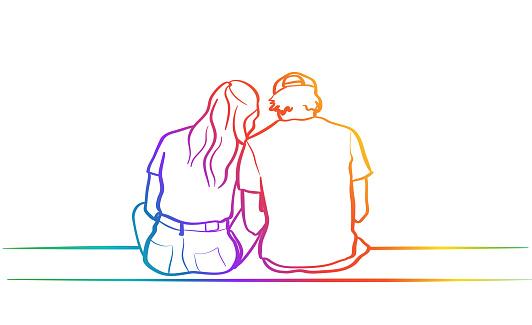 Highschool Boyfriend And Girlfriend Sitting Rainbow