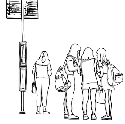Highschool Girls Bus Stop