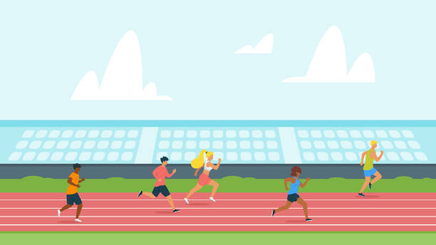 highschool students running track flat vector illustration - high school sports stock illustrations