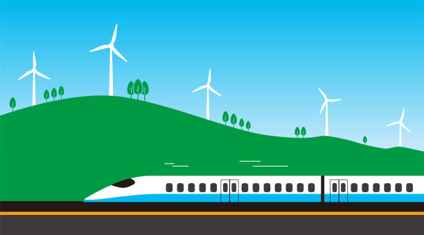 High-speed rail travel on the road with wind generator High-speed rail travel on the road with wind generator high speed train stock illustrations