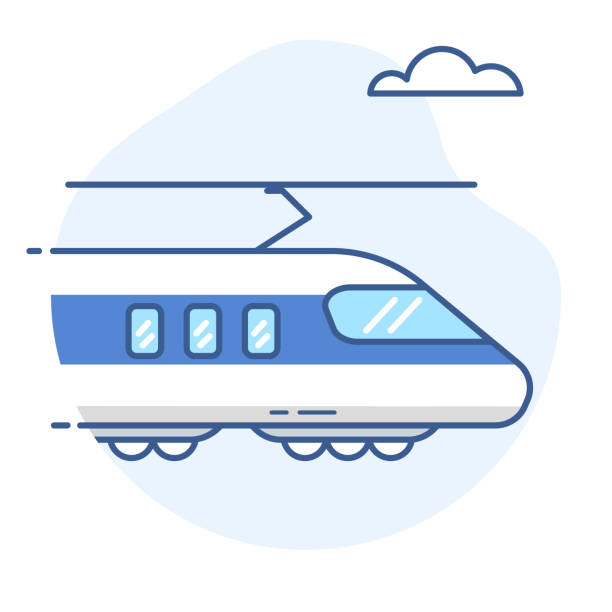 High-speed train line icon.Bullet train vector illustration. High-speed train line icon.Bullet train vector illustration. eps 10 high speed train stock illustrations