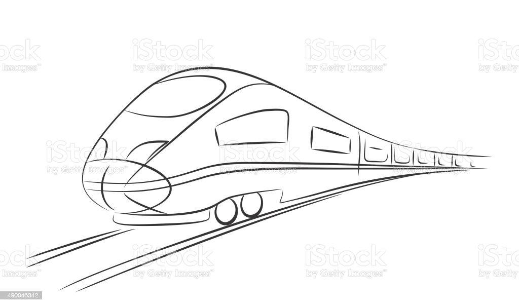 High-speed train. vector art illustration