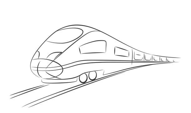 High-speed train. Sketch high-speed train. high speed train stock illustrations