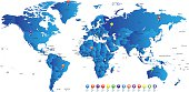 Hight detailed divided and labeled world map