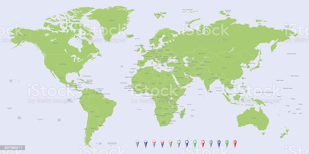 Hight Detailed Divided And Labeled World Map Stock Vector Art & More ...