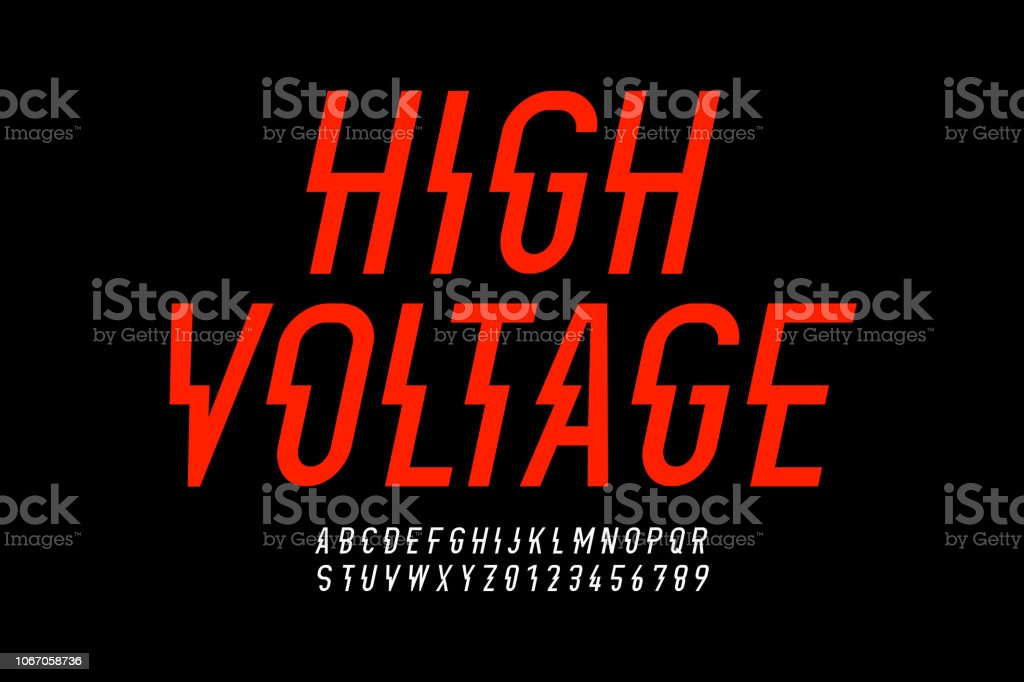 Hight voltage style modern font vector art illustration
