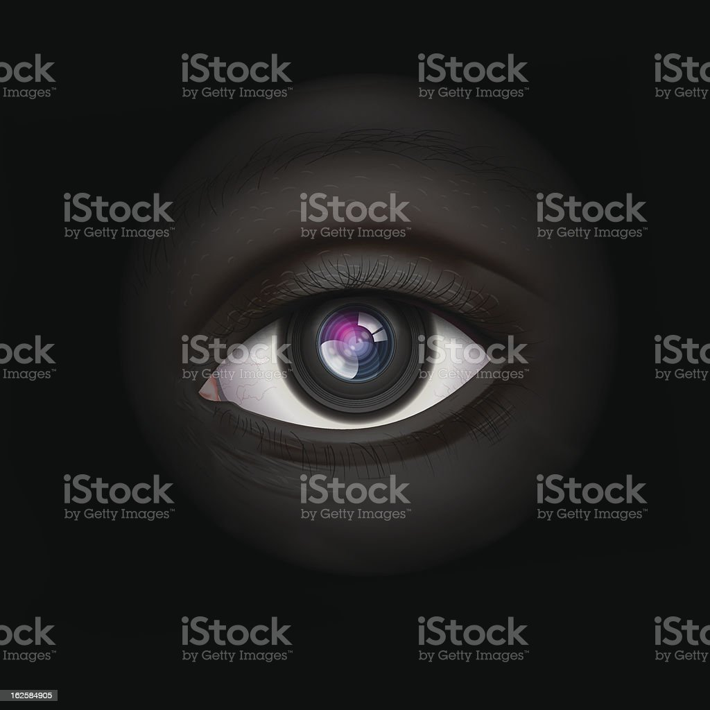 High-tech background with camera lens eye royalty-free stock vector art