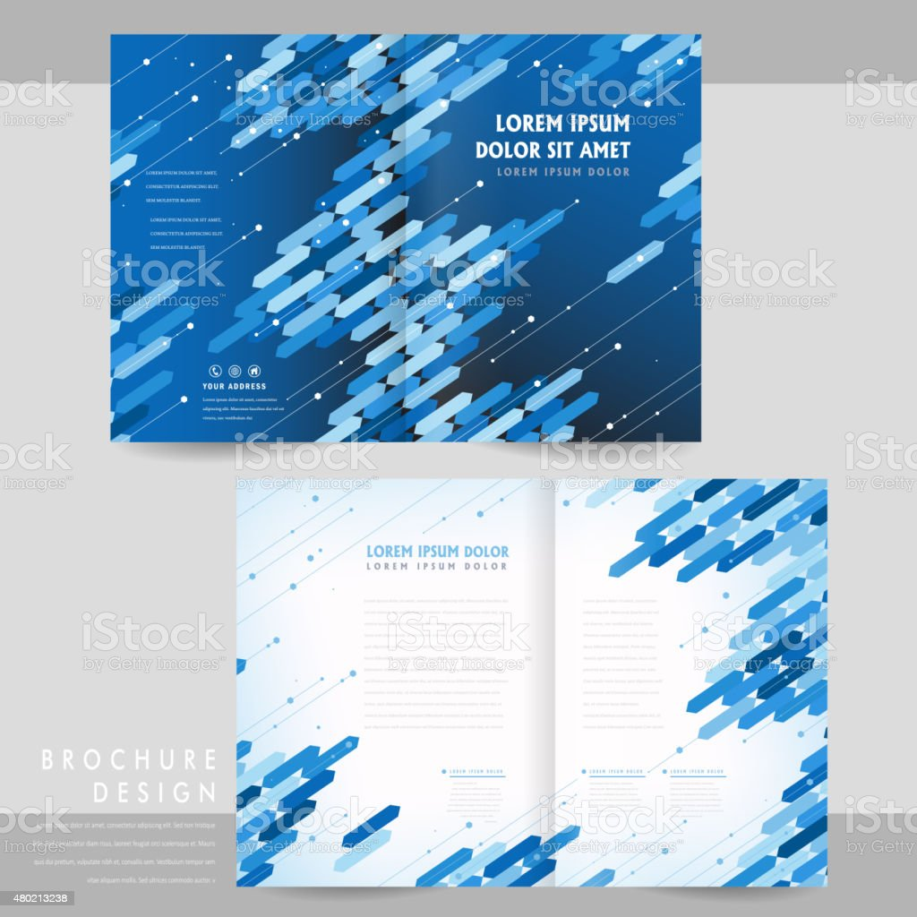 high tech half fold brochure template design royalty free hightech halffold brochure template