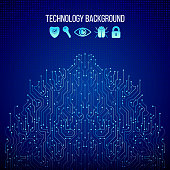 High-tech technology texture on the blue background. Circuit board vector illustration. Internet data security.