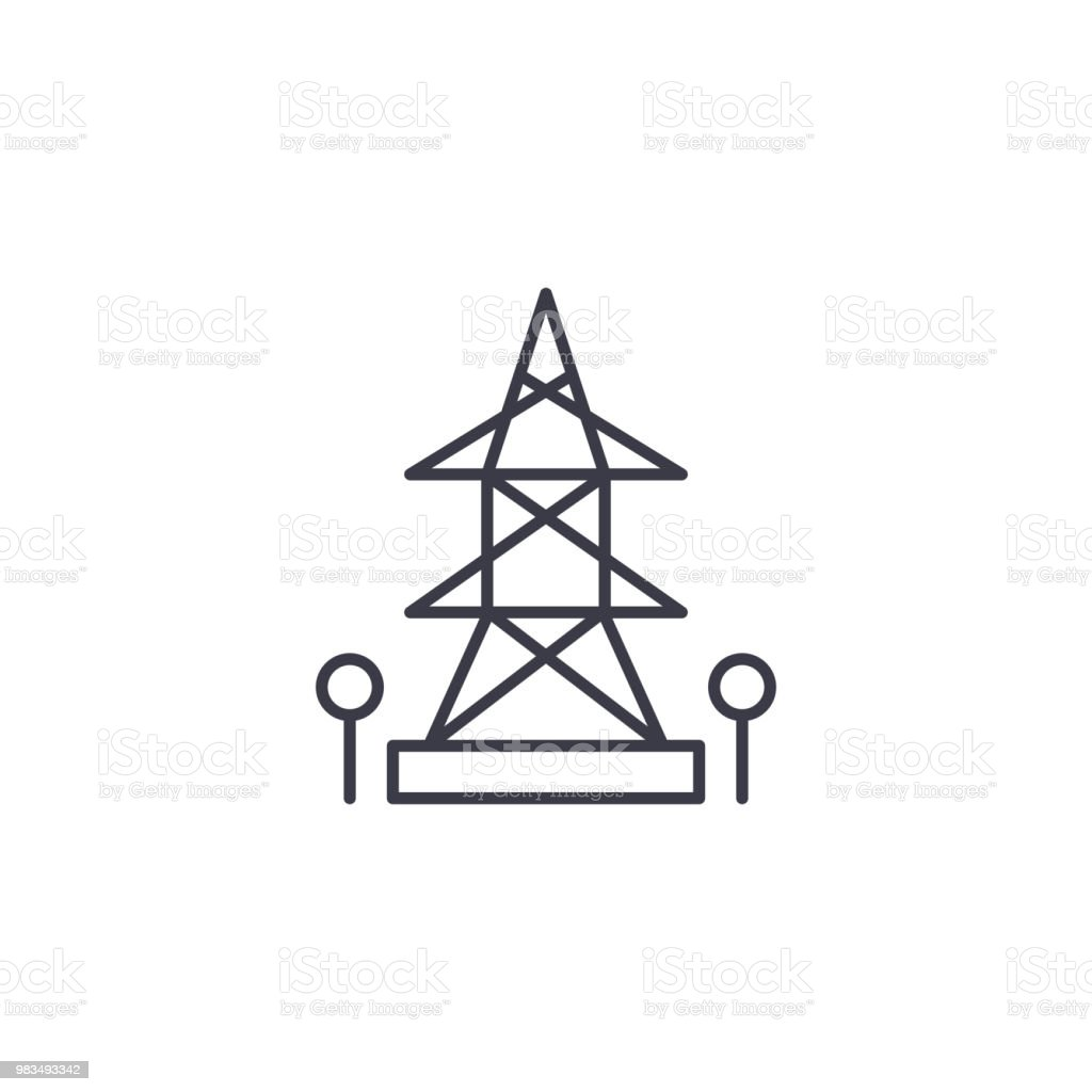 Hightension Tower Linear Icon Concept Hightension Tower Line Vector