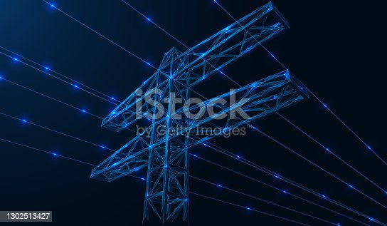 istock High-voltage power line. 1302513427