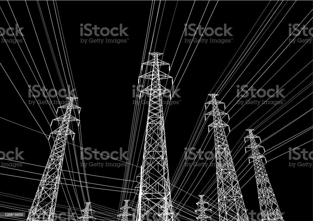 High-voltage wire vector art illustration
