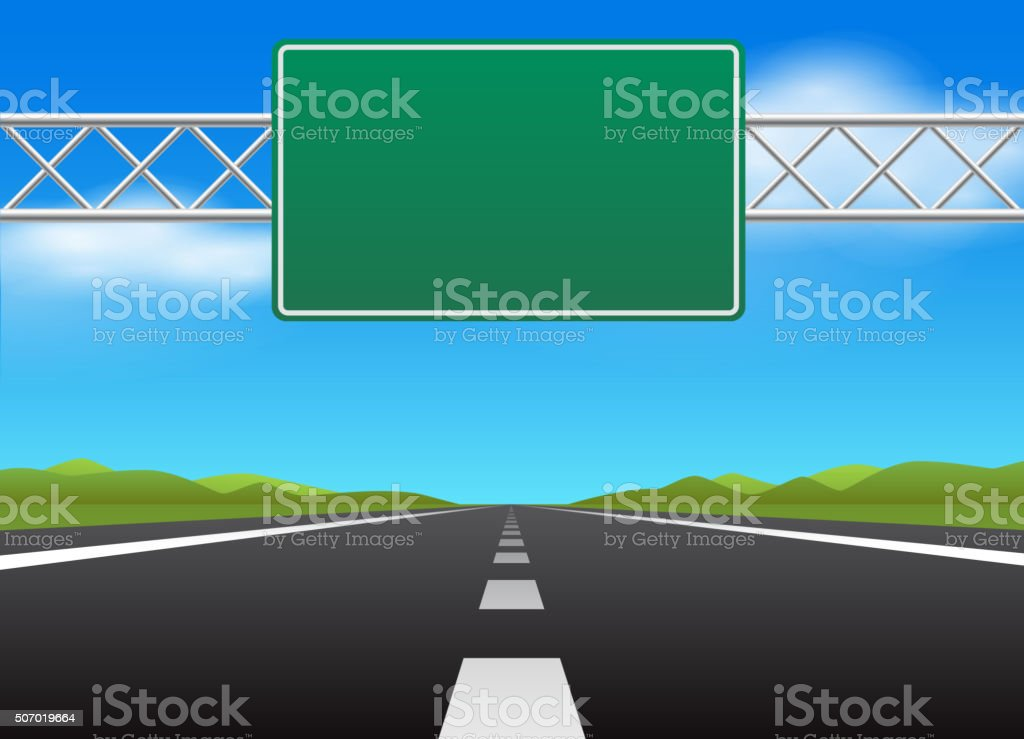 Highway and blank road sign vector art illustration