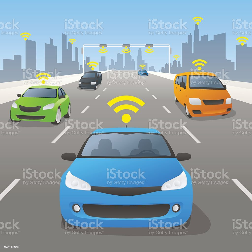 Highway communication system and vehicles, front view - Illustration vectorielle